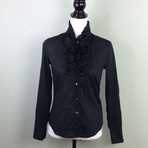 J. CREW Black Frances Ruffled Tuxedo Shirt